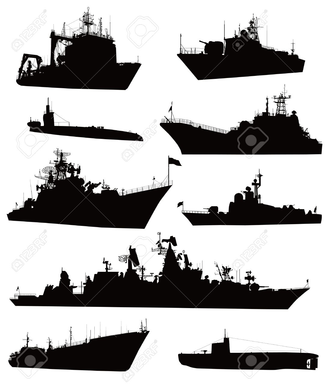 High Detailed Military Ship Silhouettes Set Royalty Free Cliparts.
