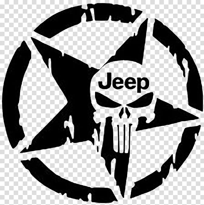 Punisher Logo, Jeep, Decal, Sticker, Car, Bumper Sticker.
