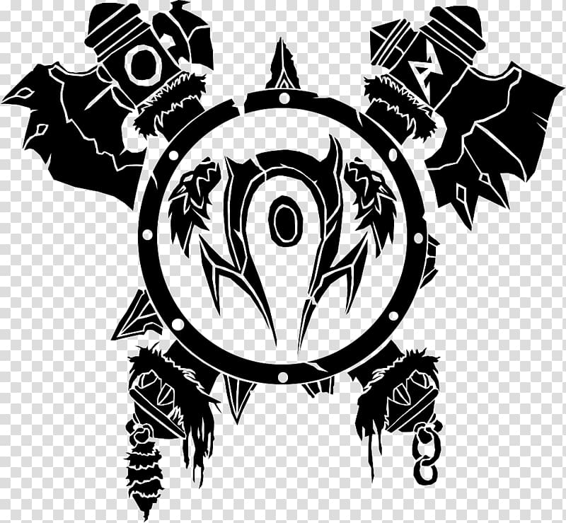 Black and white logo, World of Warcraft Orc Orda Races and.