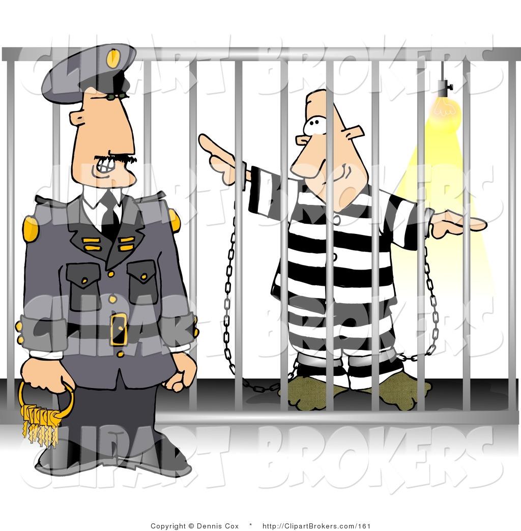 Clip Art of a Jail Warden Guard Standing Beside a Prisoner.