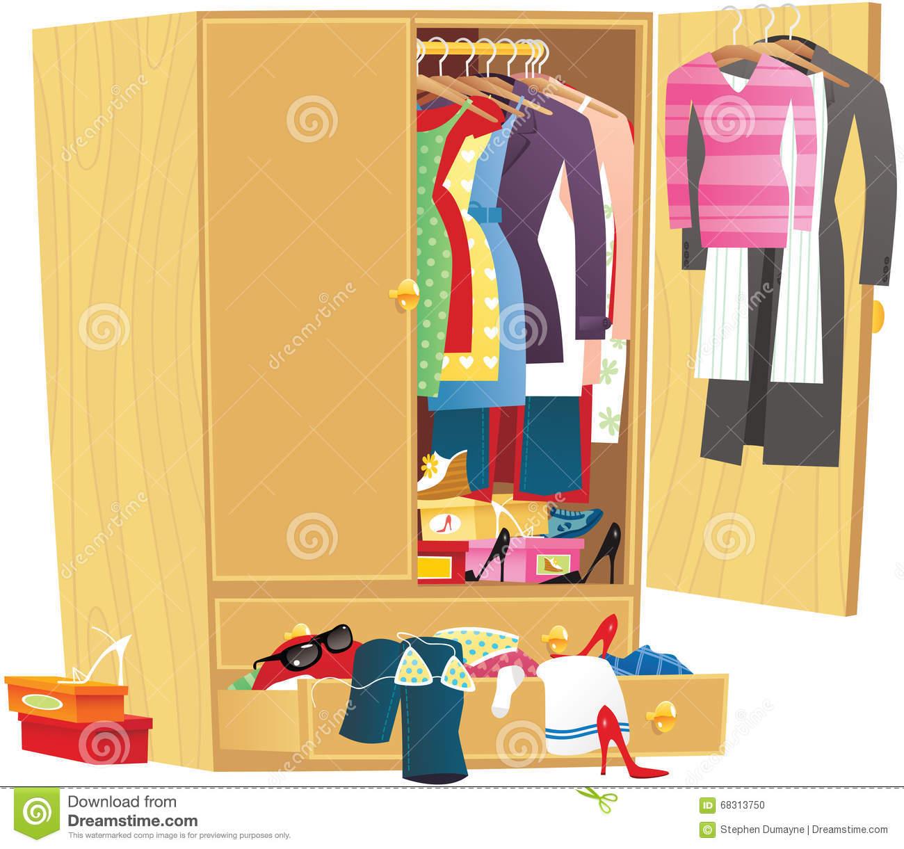 Open wardrobe clipart free.