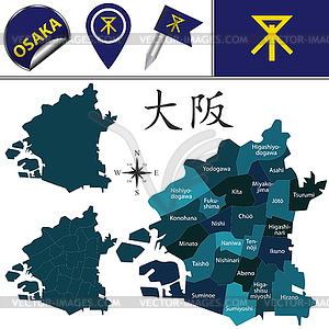 Map of Osaka, Japan with Special Wards.