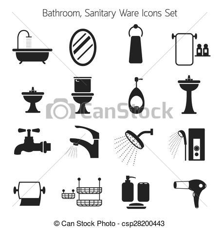 EPS Vector of Bathroom Mono Icons Set.