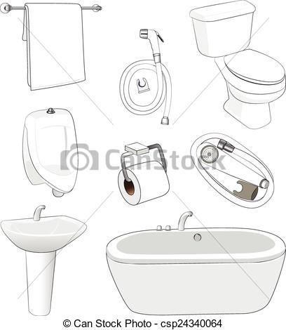 Clip Art Vector of sanitary ware bathroom on white background.