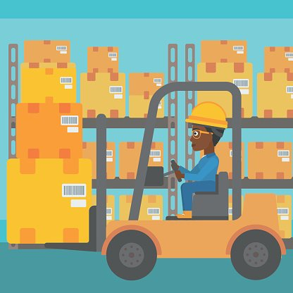 Warehouse worker moving load by forklift truck. Clipart.