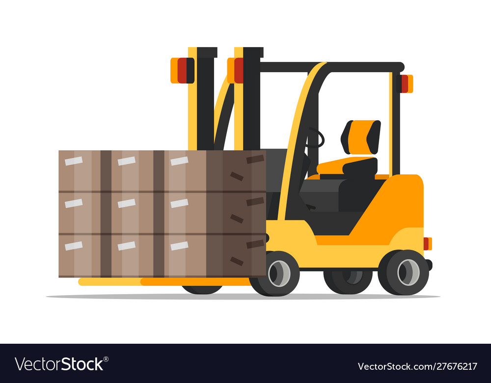 Warehouse forklift with boxes flat.
