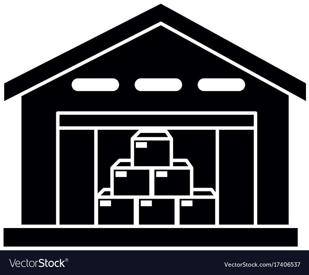 Warehouse building isolated icon.