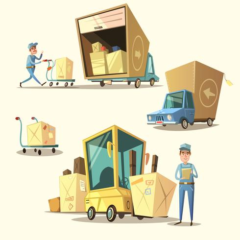Warehouse retro cartoon set.