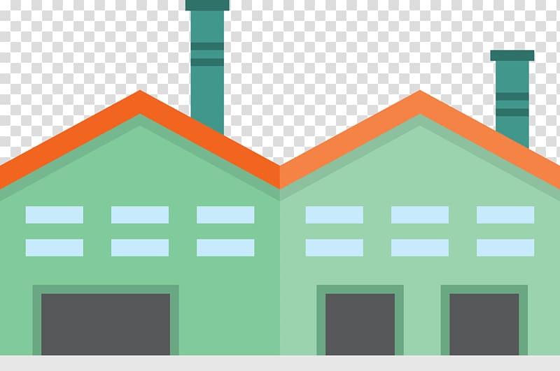 Facade Factory Icon, Green cartoon factory and warehouse.