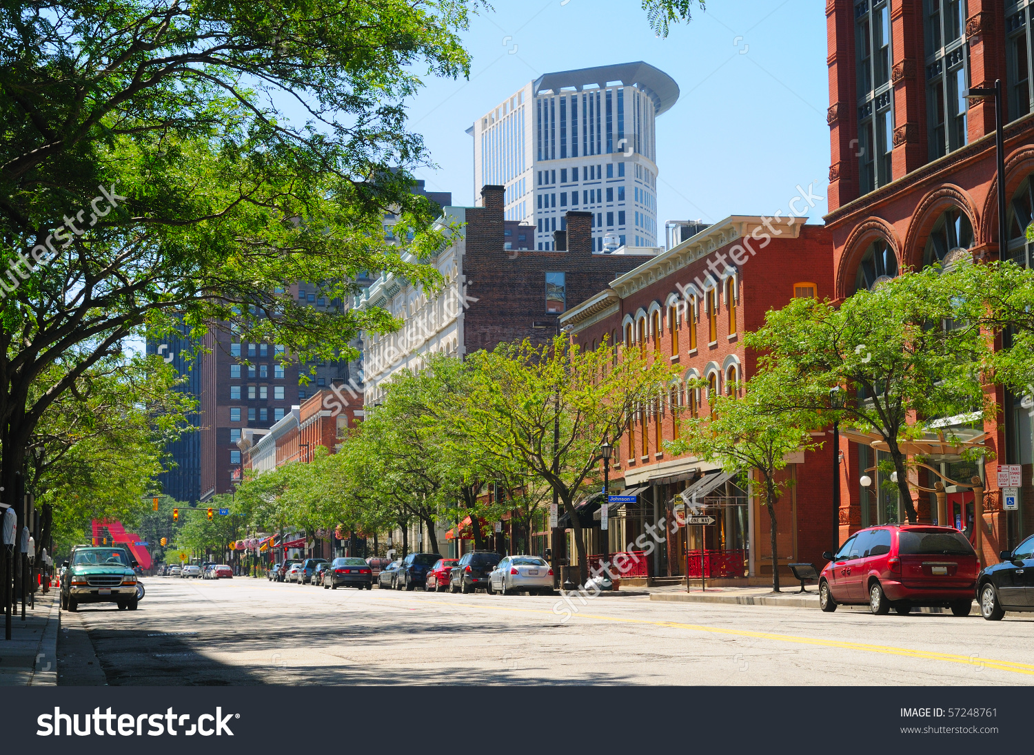 A Street In Downtown Cleveland Ohio'S Trendy Warehouse District.