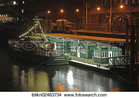 """Stock Photo of """"Customs, Coast Guard, Speicherstadt, historic."""