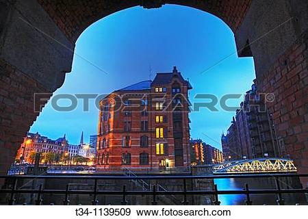 Stock Photograph of Speicherstadt Warehouse District at Hamburg.