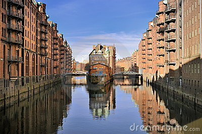 Hamburg Warehouse District Stock Images.