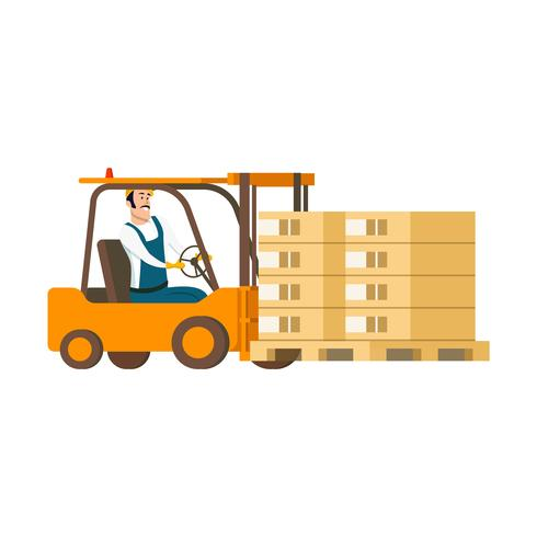 Warehouse Character Driving Forklift Car with Box.