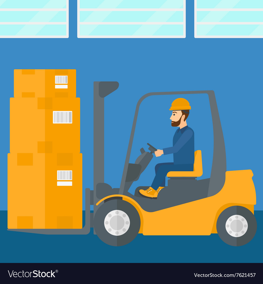 Warehouse worker moving load by forklift truck.