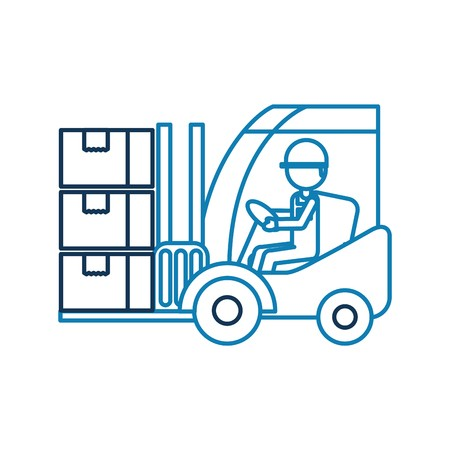 warehouse worker loading cardboard boxes forklift driver at.
