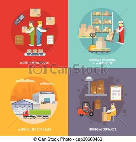 Clip Art Vector of Warehouse Flat Set.