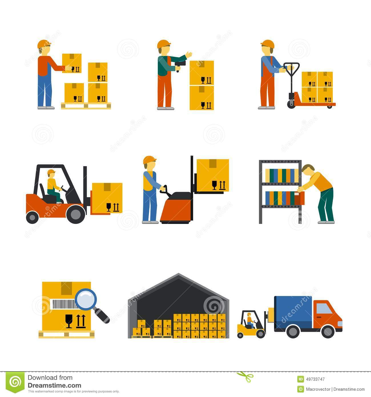 Warehouse Icon Flat Stock Vector.