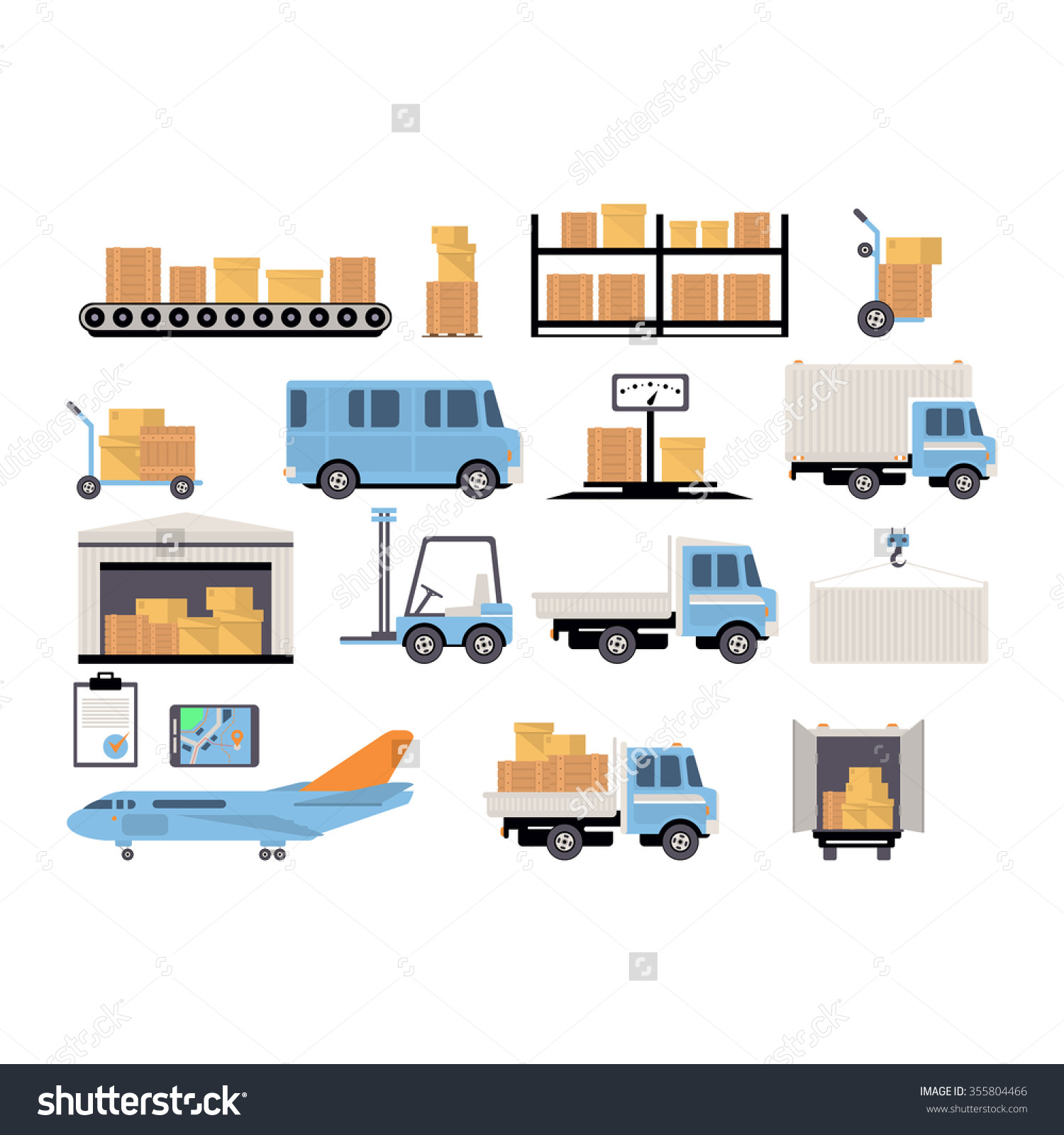 Warehouse Flat Set Logistics Packing Process Stock Vector.