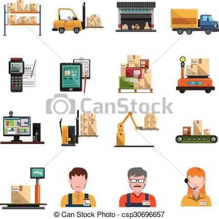 Clipart Vector of Warehouse Icons Flat.