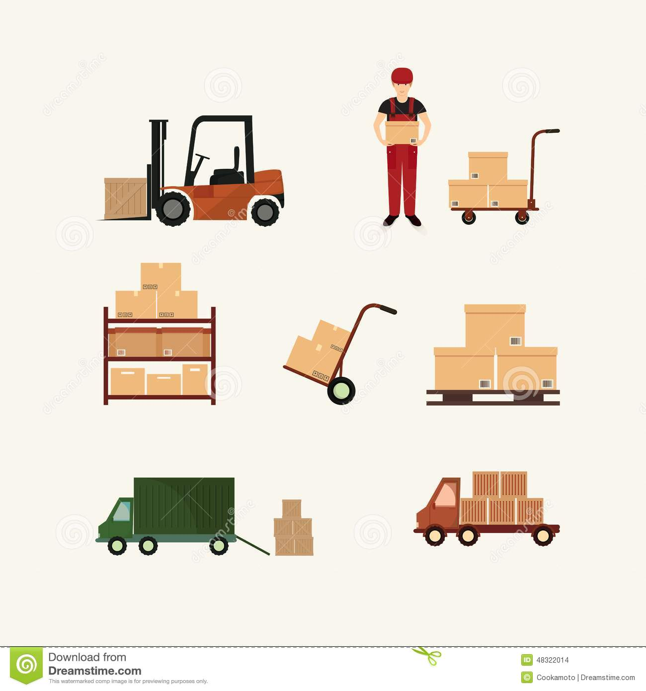 Warehouse Transportation And Delivery Icons Flat Stock Vector.