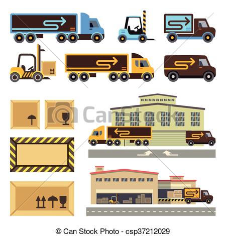 Vector Illustration of Warehouse building and transportation.
