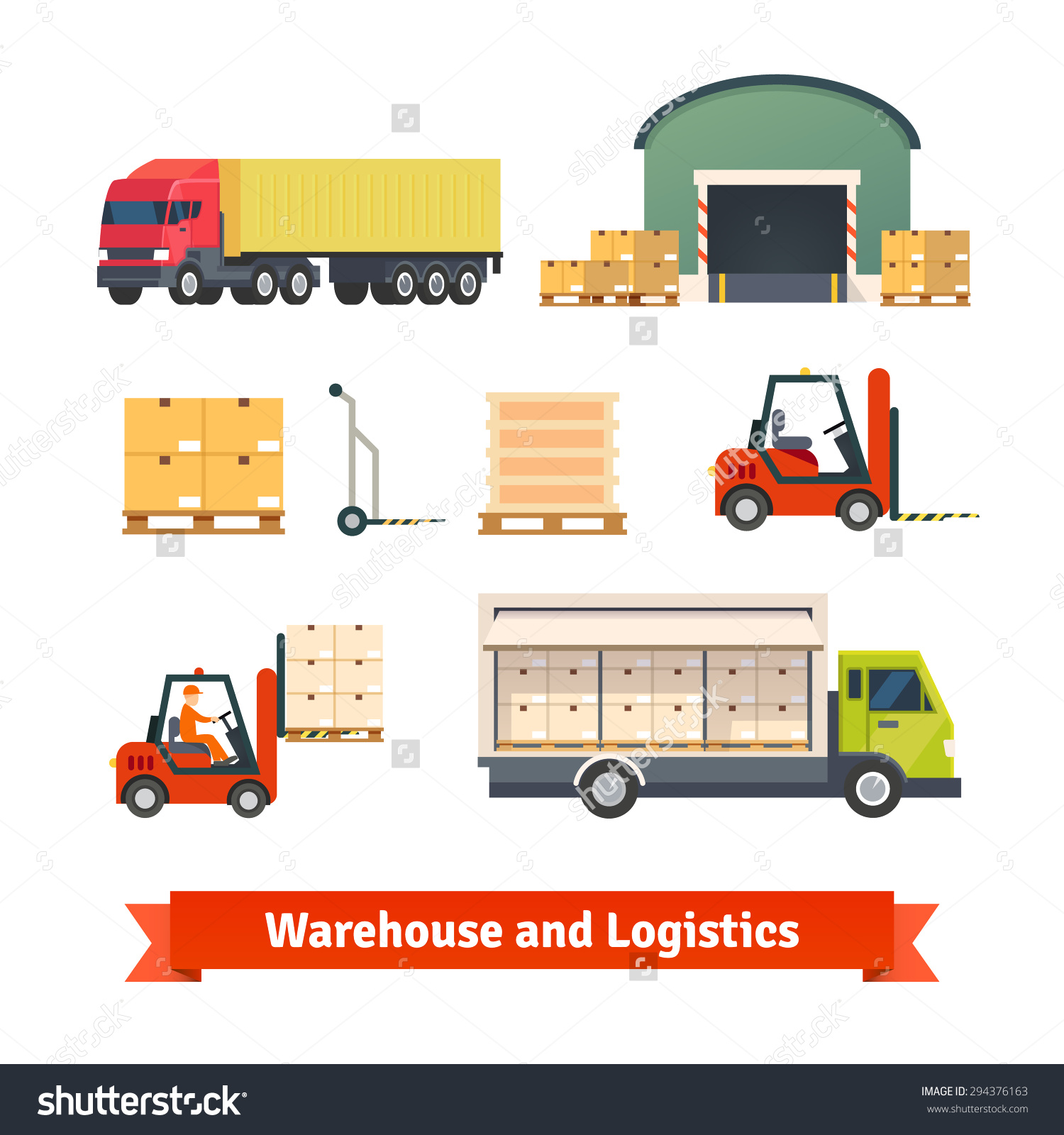 Warehouse Inventory Logistics Truck Loading Goods Stock Vector.