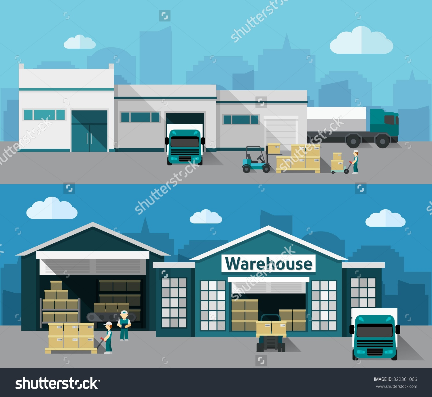 Warehouse Building Shipping Process Flat Horizontal Stock Vector.