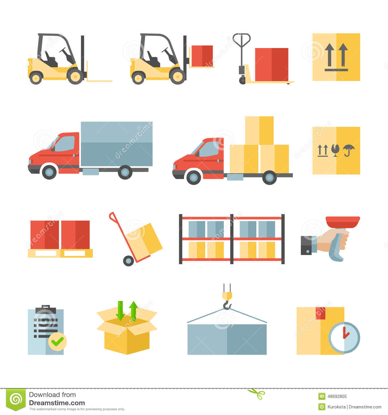 Warehouse Transportation And Delivery Flat Icons Stock Vector.