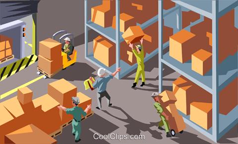 warehouse Royalty Free Vector Clip Art illustration.