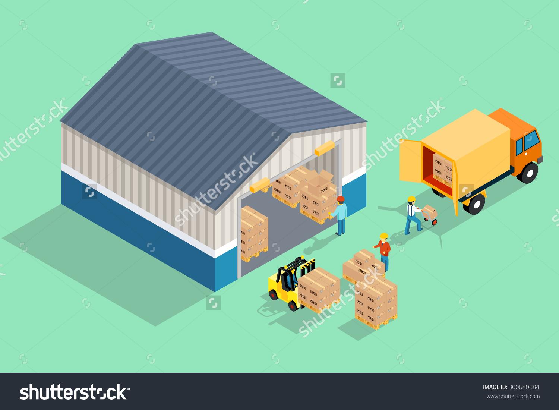 Isometric Warehouse Loading Unloading Warehouse Storage Stock.