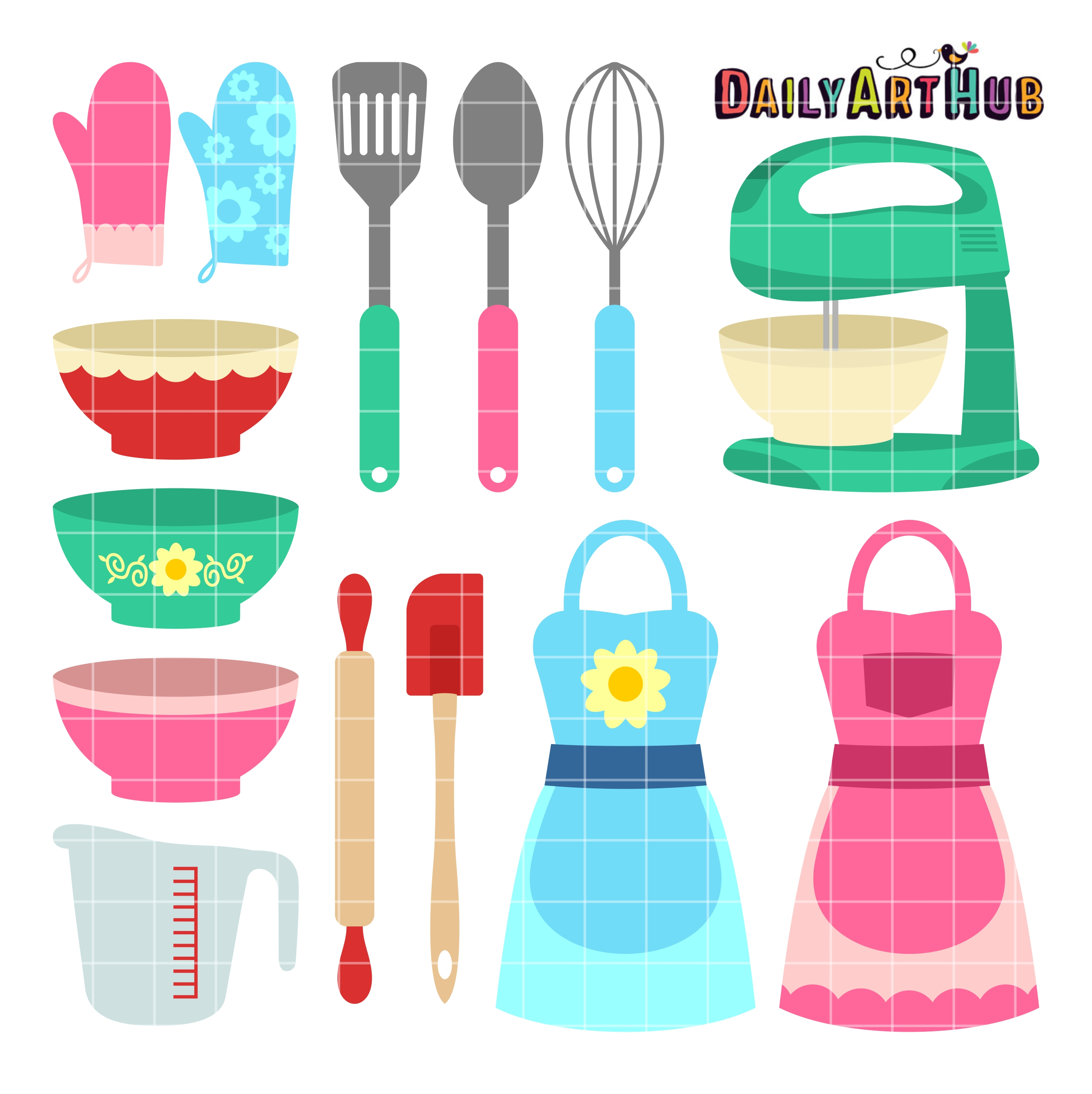 Cute Kitchen Wares Clip Art Set.