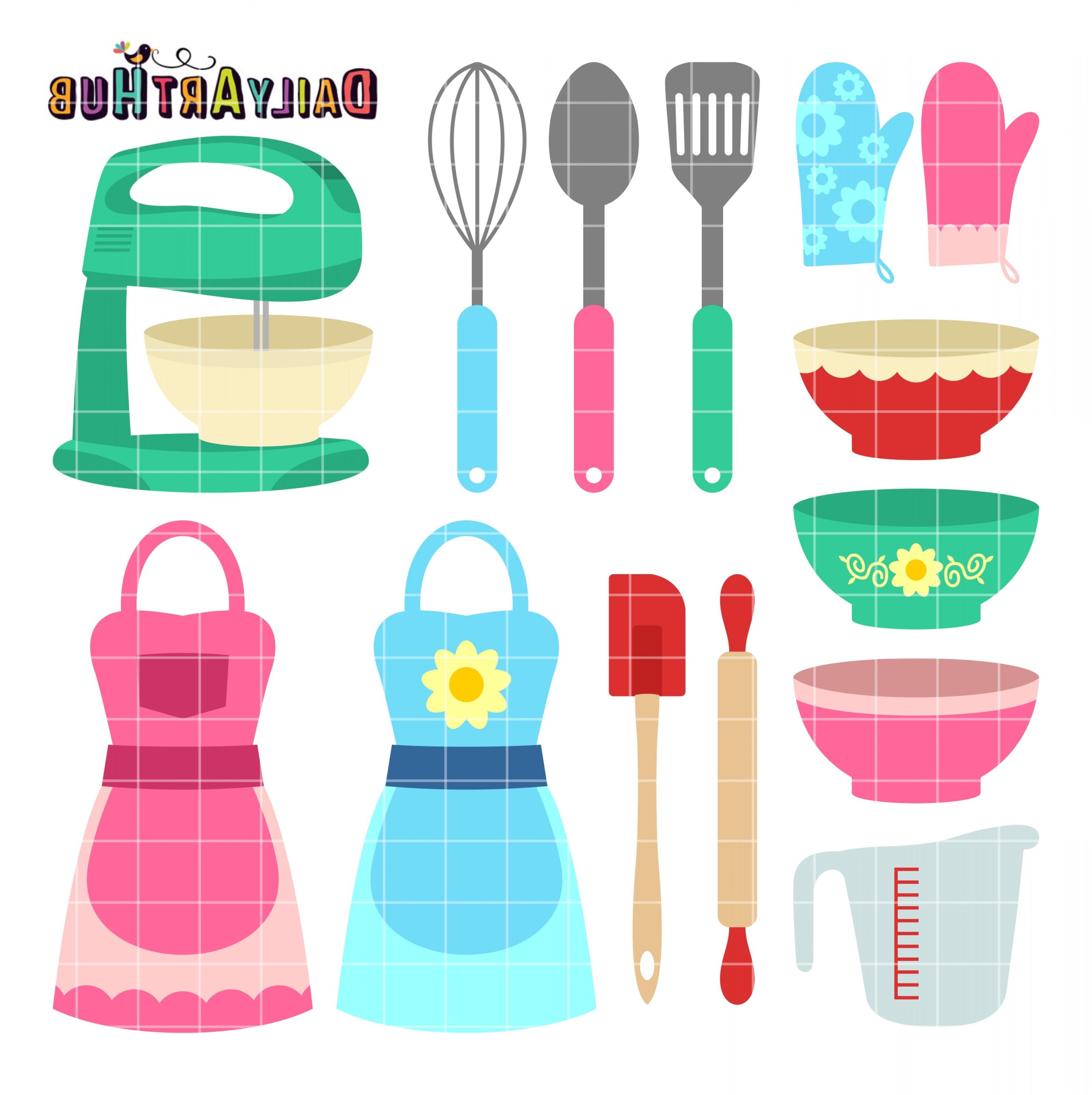 Free Cute Kitchen Wares Clip Art Set.