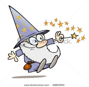 Cartoon Warlock with His Magic Wand Clipart Picture.