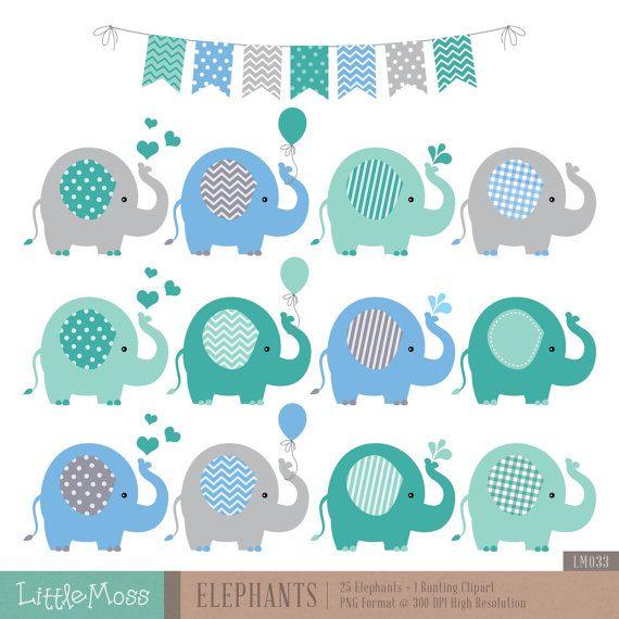 Elephants Clipart, Boy Elephants Clipart.