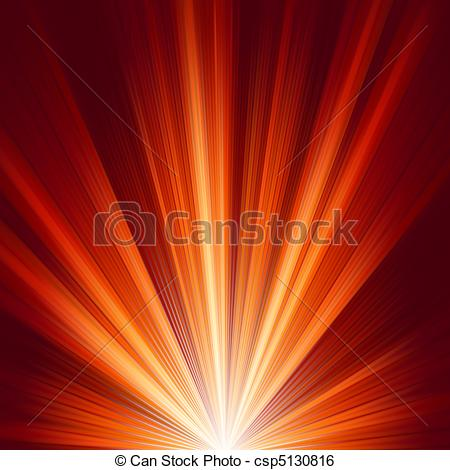 Clip Art Vector of Template with burst warm color light. EPS 8.