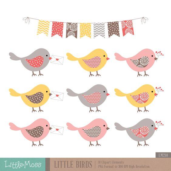 Vogels Clipart, warme kleur vogels Clipart.