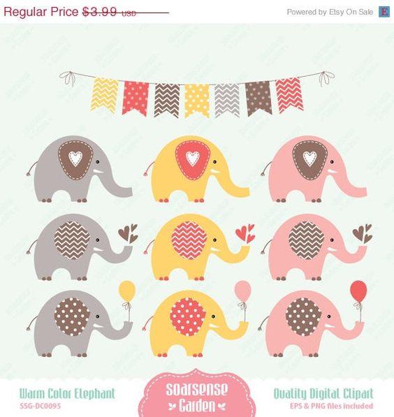 Warm Color Elephant Digital Clipart.