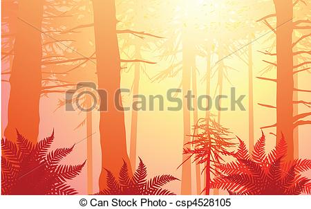 Clipart Vector of vector enchanted forest in warm colors. Lots of.