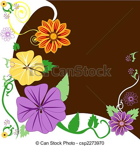 Vector Clipart of Floral Background 1 Warm Colors. Can add text.