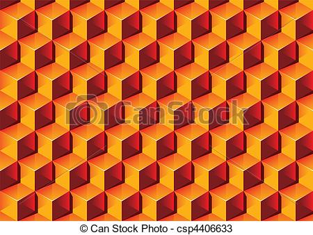 Vectors of Warm colors transparent Boxes 3D pattern. Vector.
