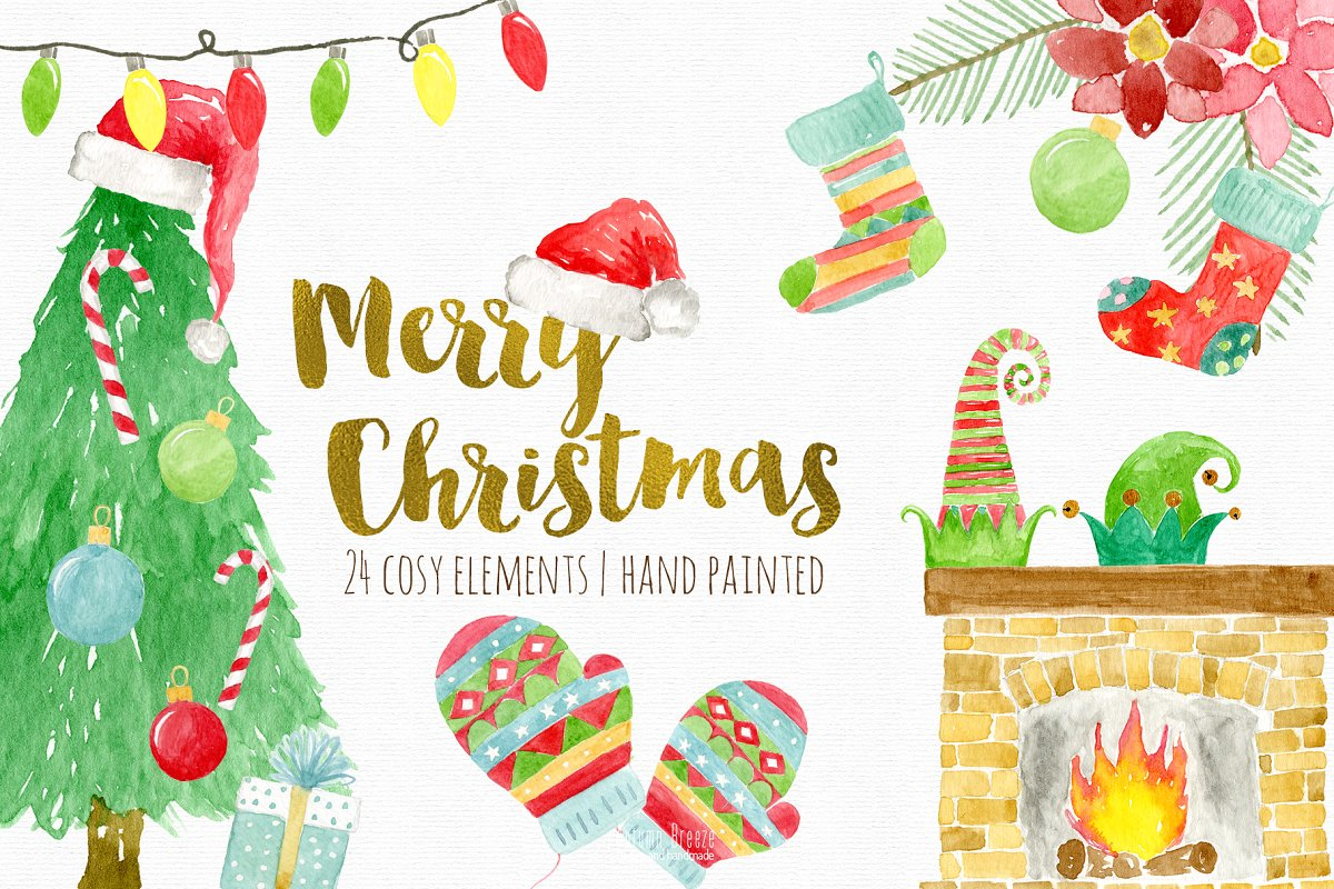 Watercolor Christmas clipart.