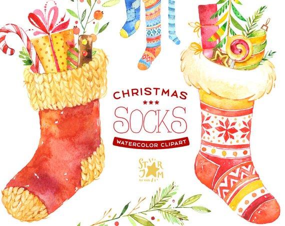 Christmas Socks. Watercolour clipart, winter, gift, diy.