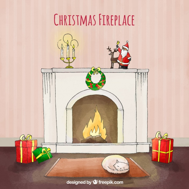 Christmas fireplace in watercolour.