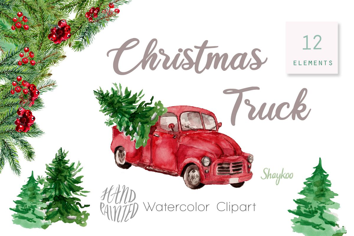 Christmas Truck Clipart, Watercolor Truck Clipart.