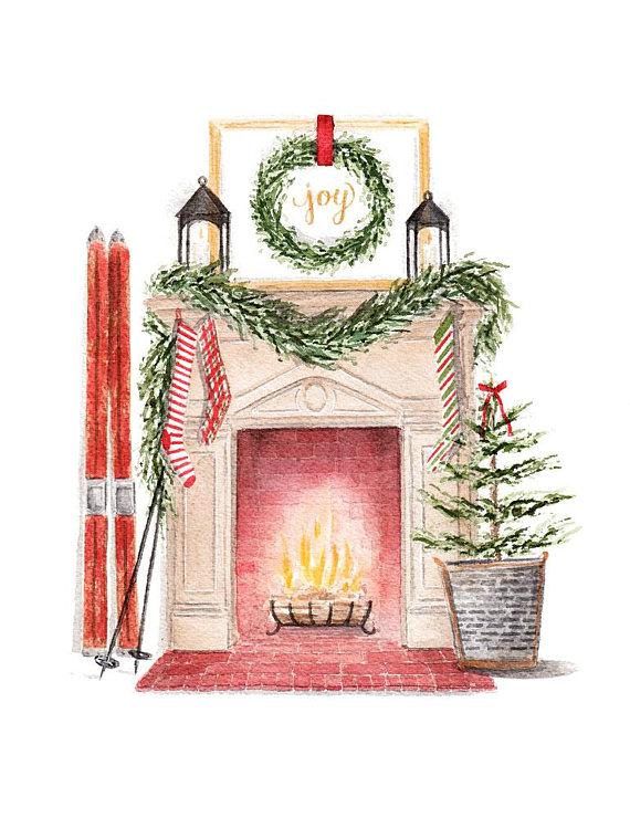 Vintage Inspired Christmas Fireplace Scene Fine Art.