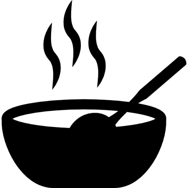 Hot food in a bowl Icons.