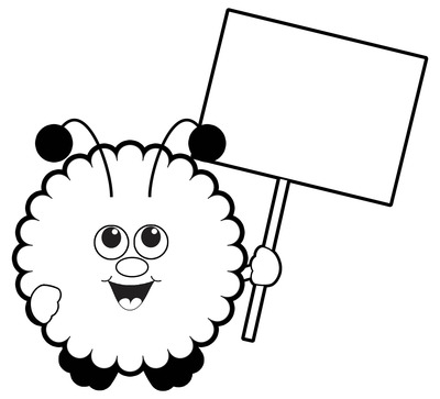 Clip Art: Warm Fuzzy with Blank Sign / Warm Fuzzies Clipart.