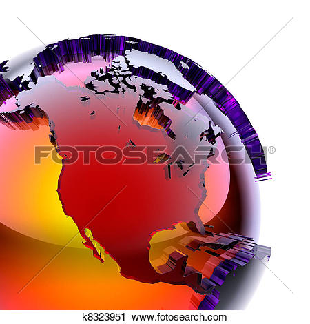 Clipart of Globe of colored glass with an inner warm glow k8323951.
