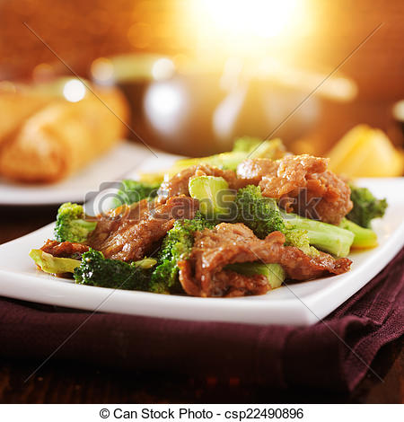 Stock Photographs of stirfried chinese beef and broccoli dish with.